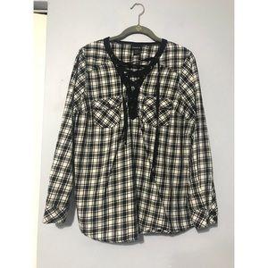 Torrid Size 00 Plaid Lace Up Shirt